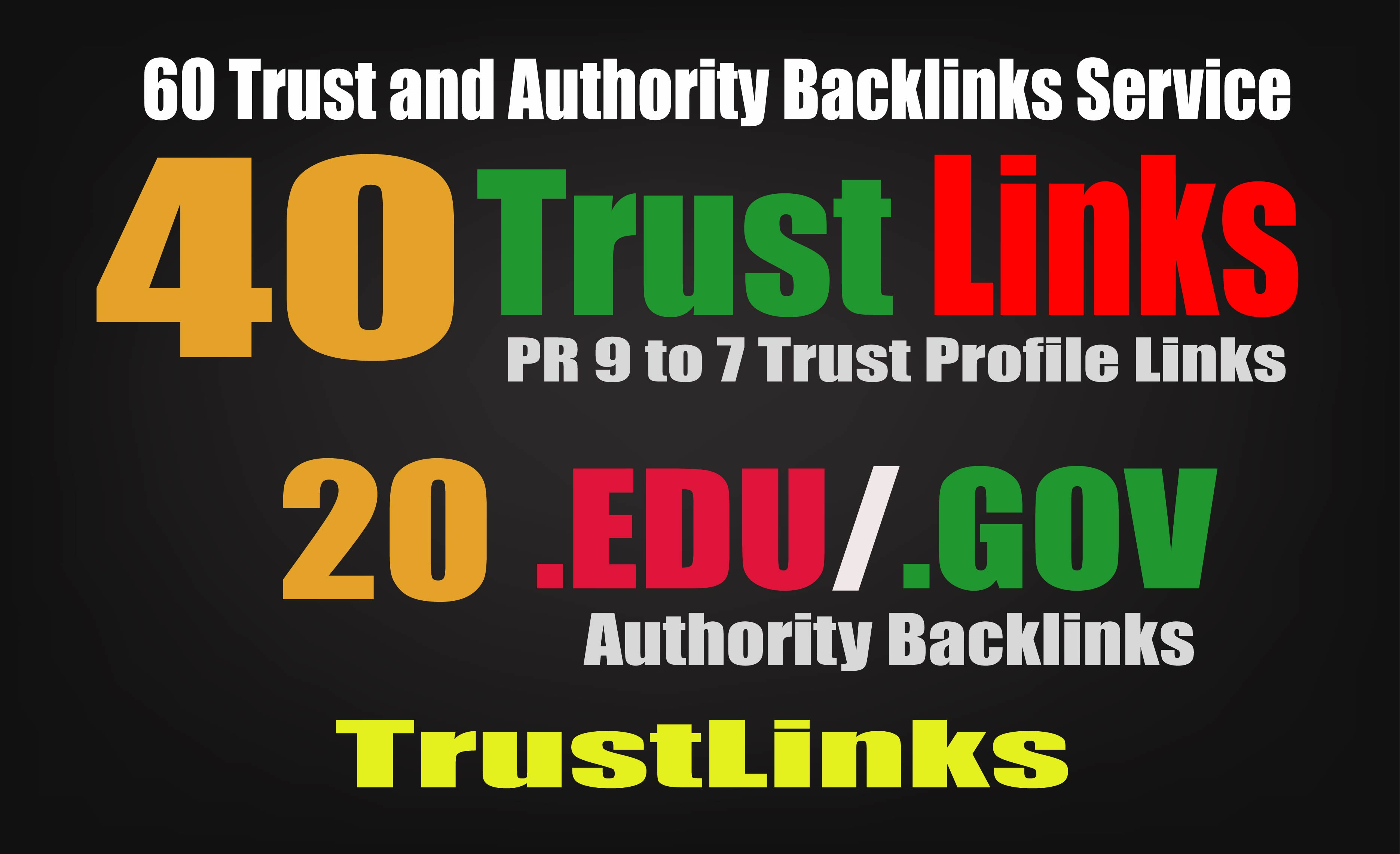 Manually create 60 Backlinks from 40 Pr9 + 20 Edu Gov High Trust Authority Safe SEO Backlinks