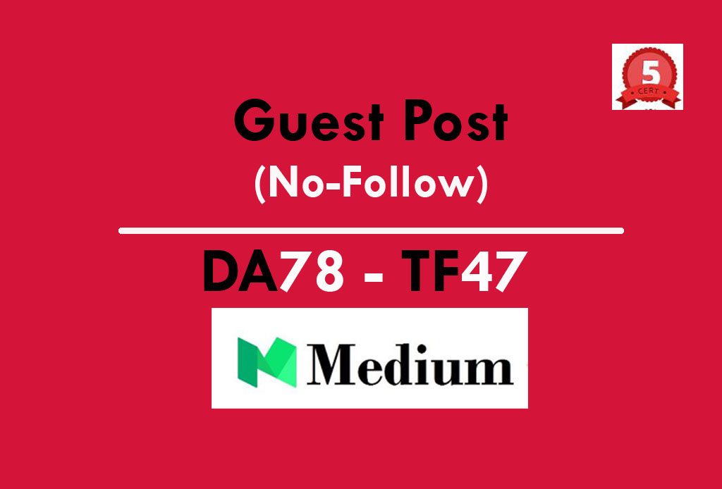 Guest Post on Medium. com DA 74,  PA 57