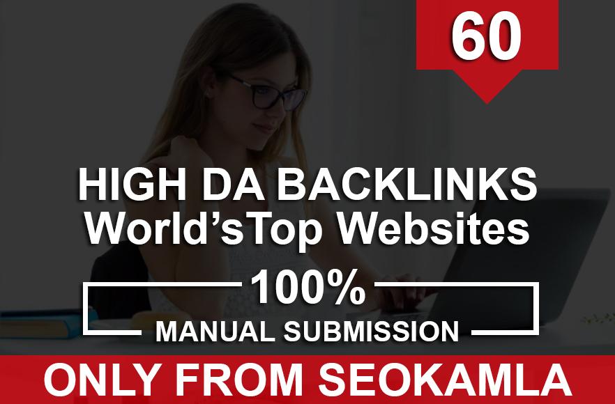 Manually Do 60 High DA SEO Backlinks