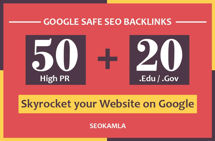 Manually do 50 Unique PR10 + 20 EDU/GOV High Quality SEO Backlinks 2019 Best Results