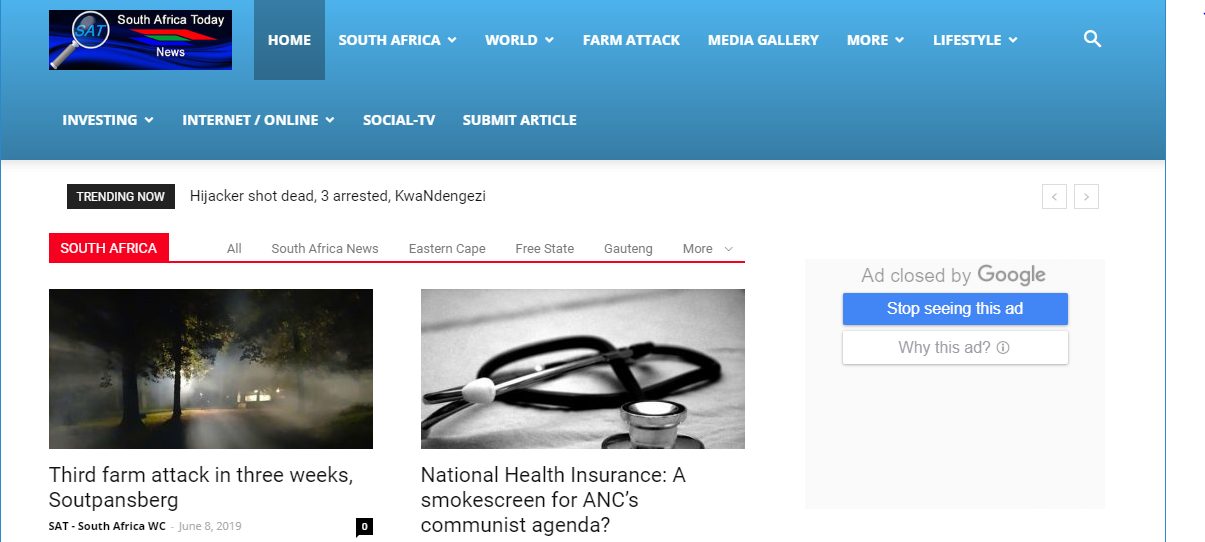 Give you guest post on google news blog southafricatoday- DA-53