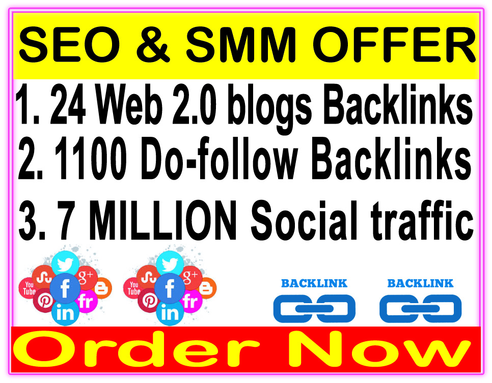 High Indexer SEO Package - 24 Web 2.0 blogs backlinks-1100 Do Follow backlinks-Promotion 7 Million social People