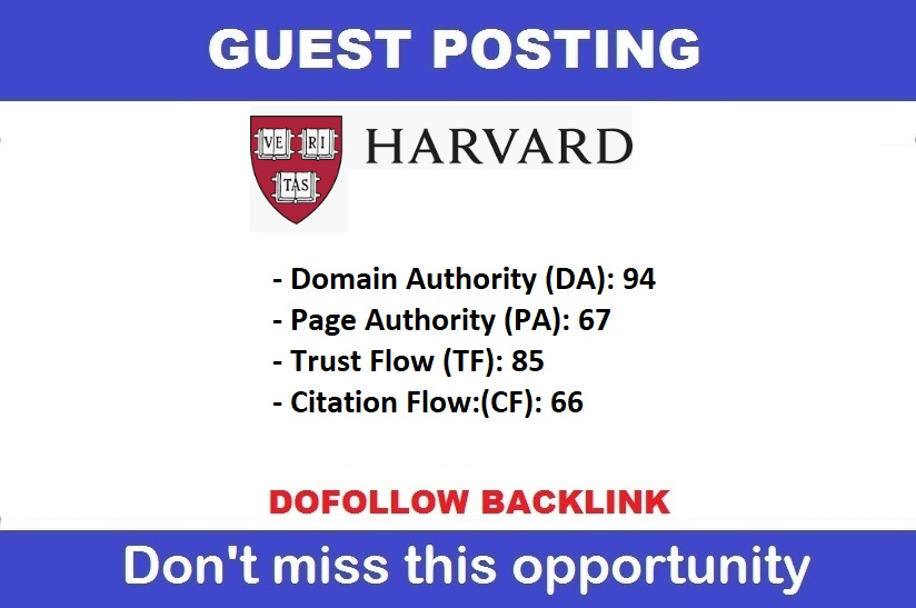 Guest Post On DA 96 Edu Site Harvard. edu Limited Offer