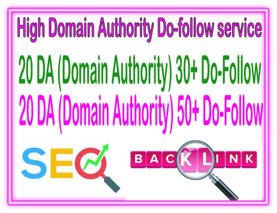 DA SEO Package - Get 40 Domain Authority 20 DA30 + 20 DA50