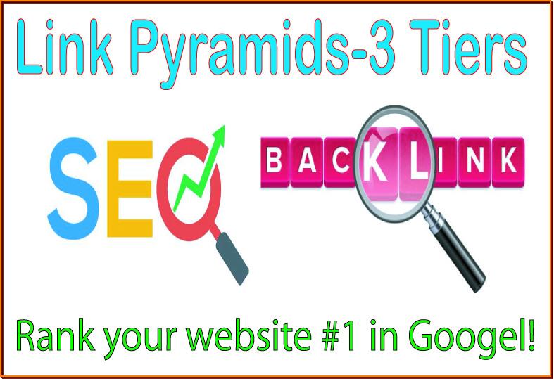 SEO Link Pyramids 3 Tiers of backlinks-Web 2.0 blogs-Wiki articles Backlinks-Forum profiles