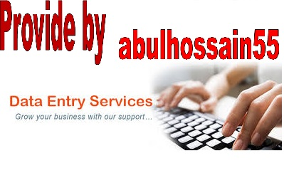 I can do any TYPES of Data Entry Works within 24 Hours offered by abulhossain55