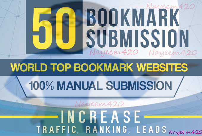 manually 50 bookmark submission backlinks, high pa da