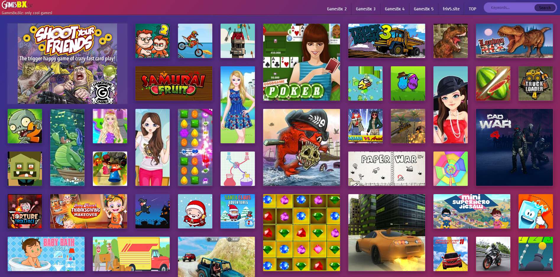The source code of the mini game website on the browser is composed of flash games and html5 games