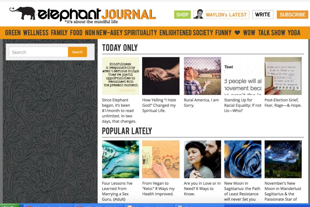 Get you backlink on ElephantJournal. com DA-75,  PA-62 Dofollow