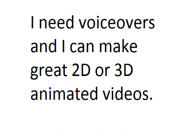 I am ready to trade my video creation services with voiceover services