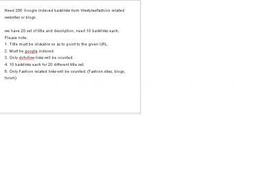 Need 200 google indexed backlinks