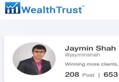 Want 300 f0llowers on WealthTrust. com